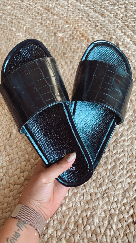 Black Croc Patterned Slides $25
