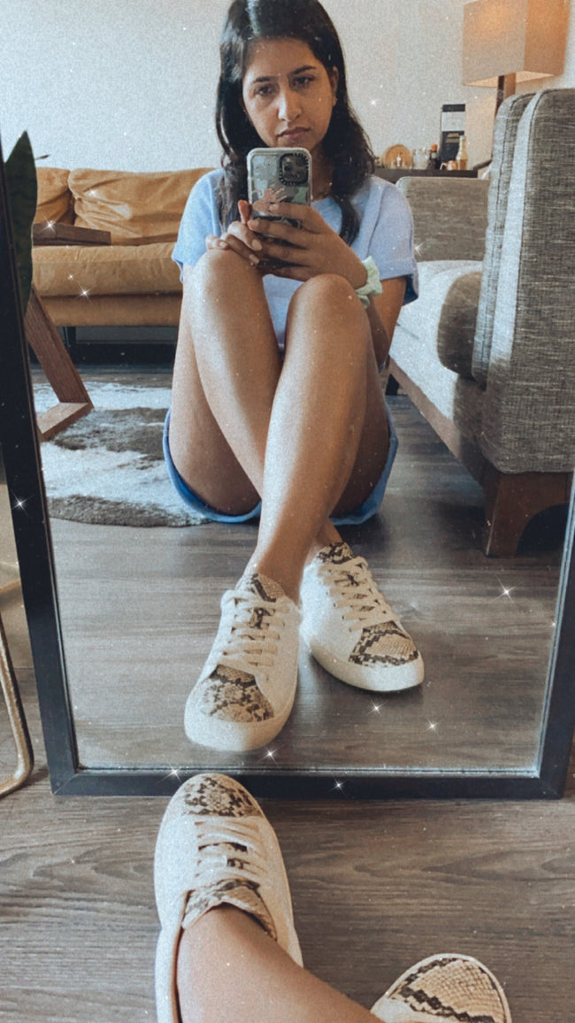 Snakeskin White Sneakers