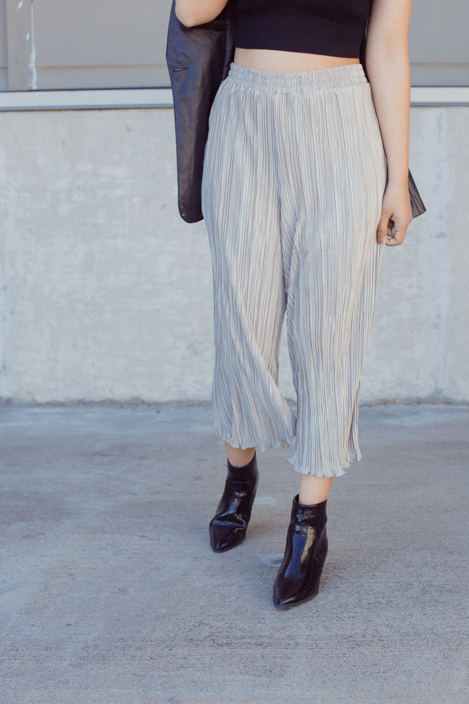 Champagne Wide Leg Pleated Pants $31