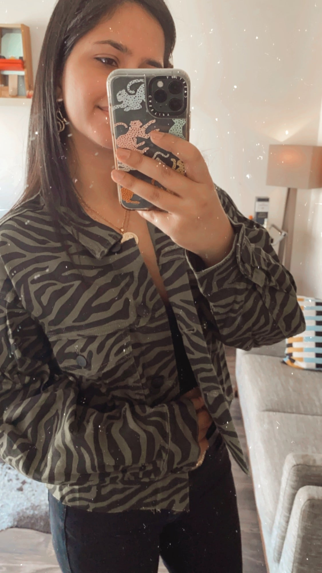 Olive Color Zebra Print Denim Jacket $35
