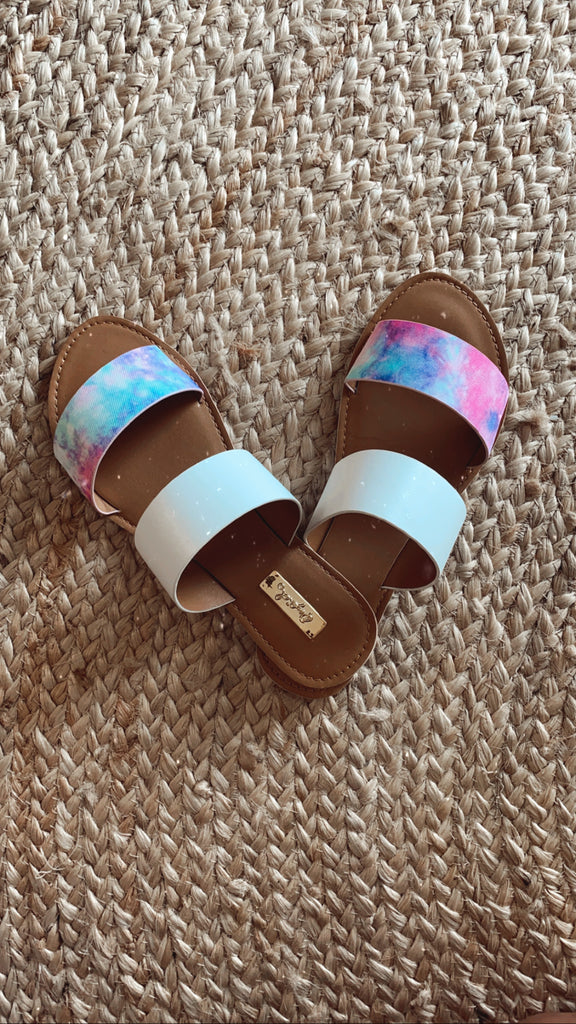 Pink, Blue and White Tie Dye Sandals $23