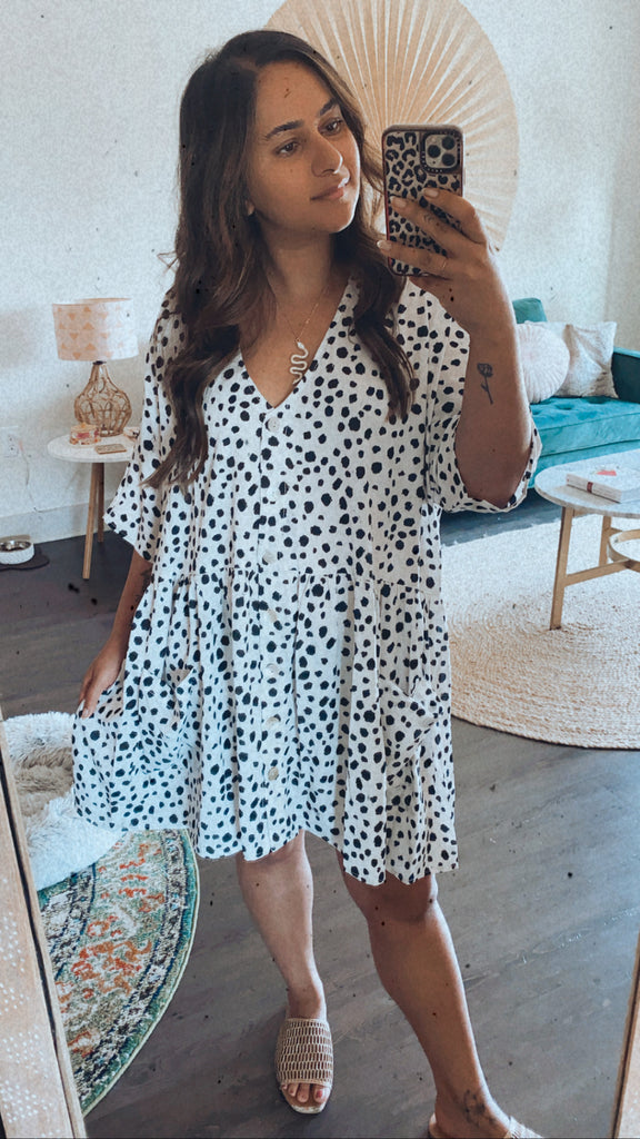 Spotted Black & White Dress $42