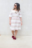 Elisa Striped Fluted Sleeved Dress