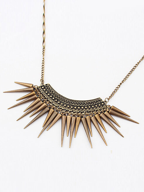 bronze retro spiked necklace
