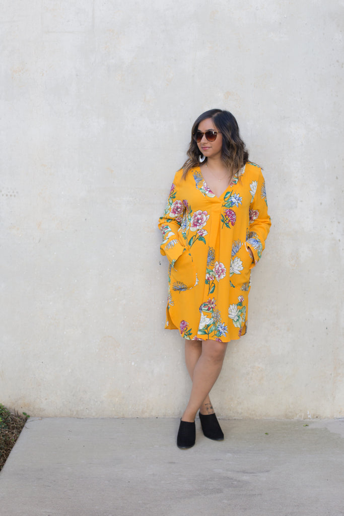 Yellow Floral Long Sleeve Dress $34