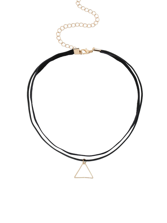 gold triangle pendant on a black choker