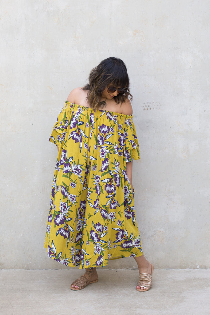 Yellow Floral Off The Shoulder Floral Jumpsuit $38