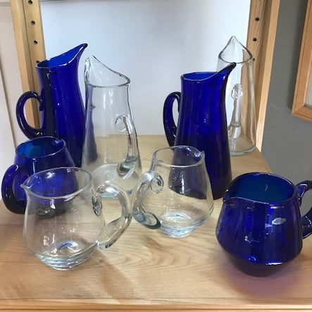 Blenko Vases in Clear & Cobalt Blue