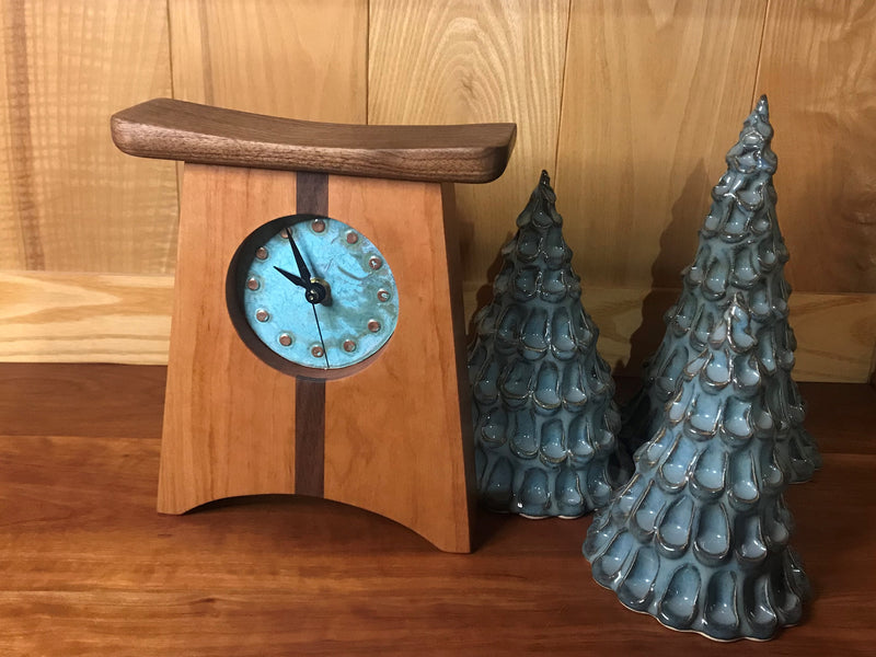 East of Appalachia Mantel Clock with Patina Green Face