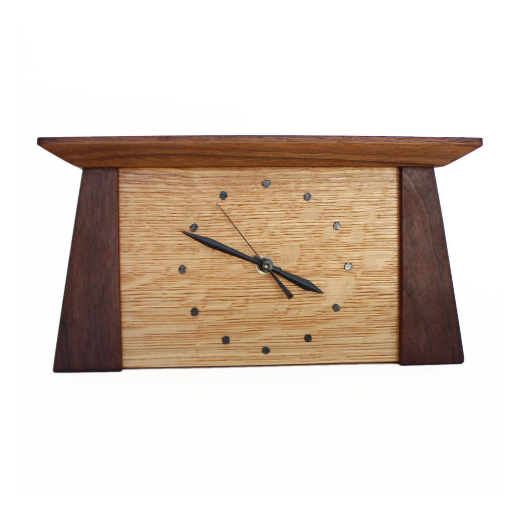 Tapered rectangular walnut wood framed oak wood clock.
