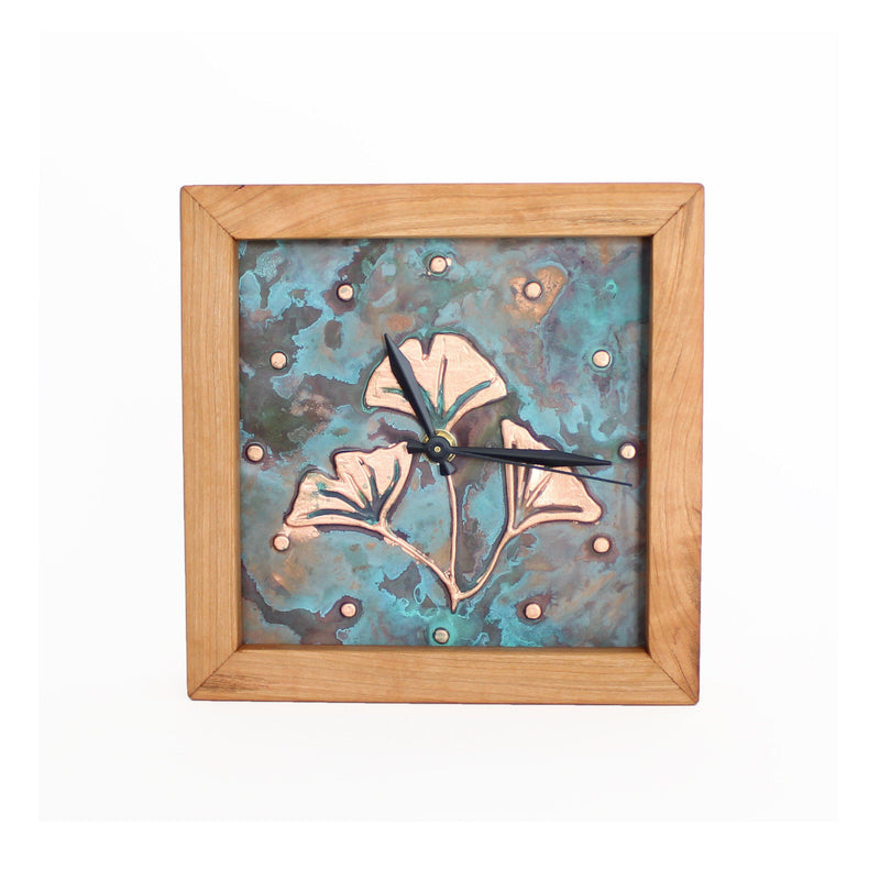 Square Clock framed with cherry wood and patina copper face with ginkgo design