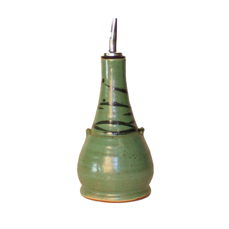Sage green cruet with black accent lines around the top.