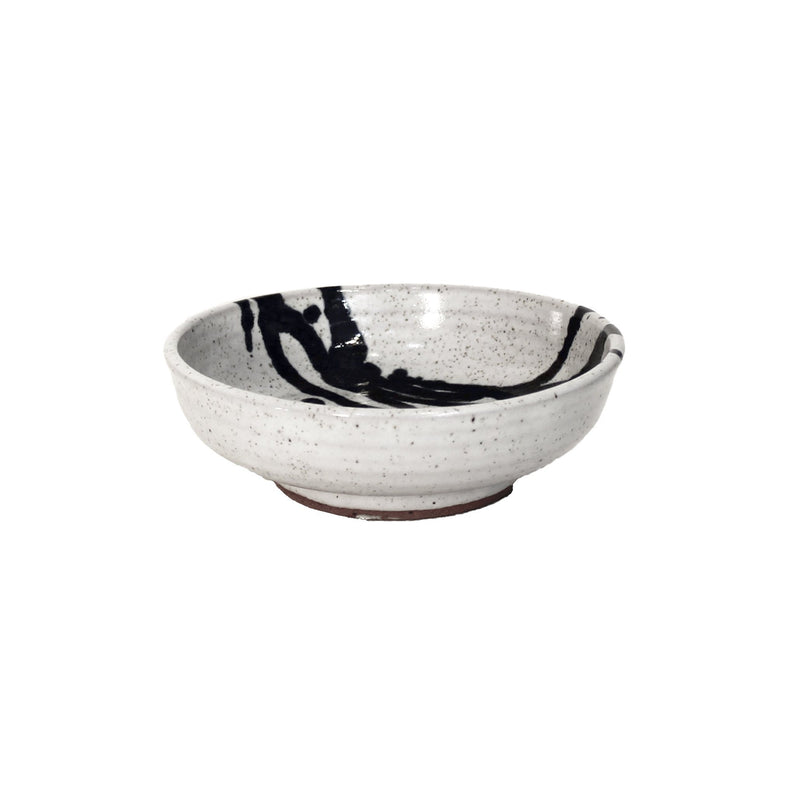 Small white bowl with cobalt blue accent lines across corner.