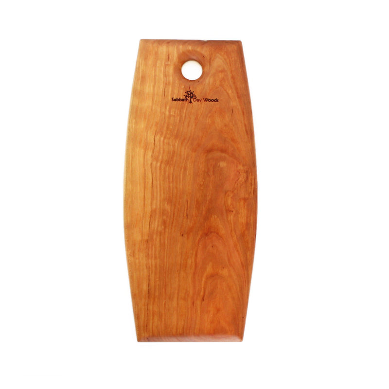 Narrow rounded sides rectangular cherry wood serving platter. Round hole at one end with logo.