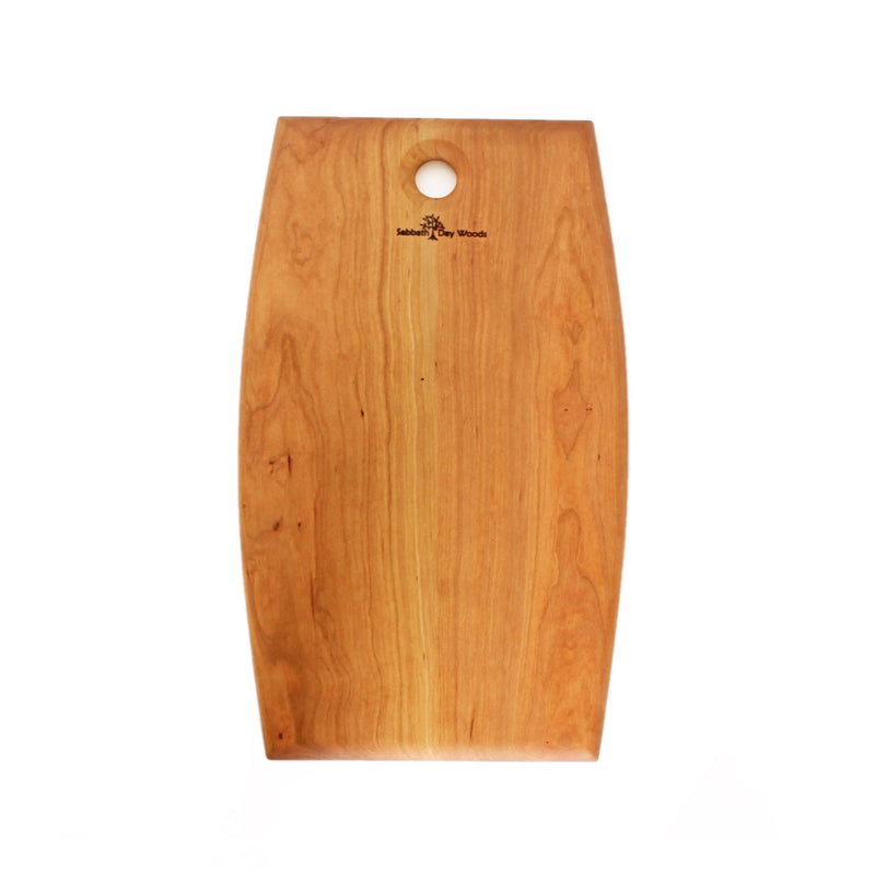 Wide rounded sides rectangular cherry wood serving platter. Round hole at one end with logo.