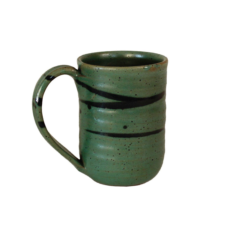 Dark sage green coffee mug with black accent lines around top near rim.
