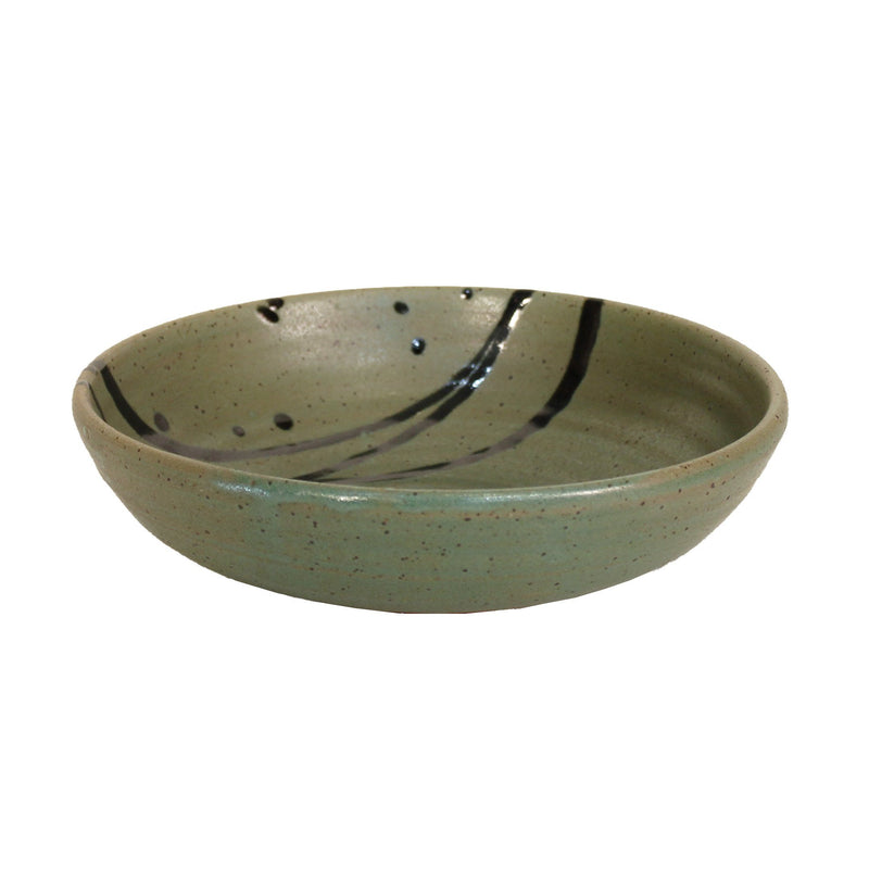 Pasta Bowl in Sage Green with Black Accents