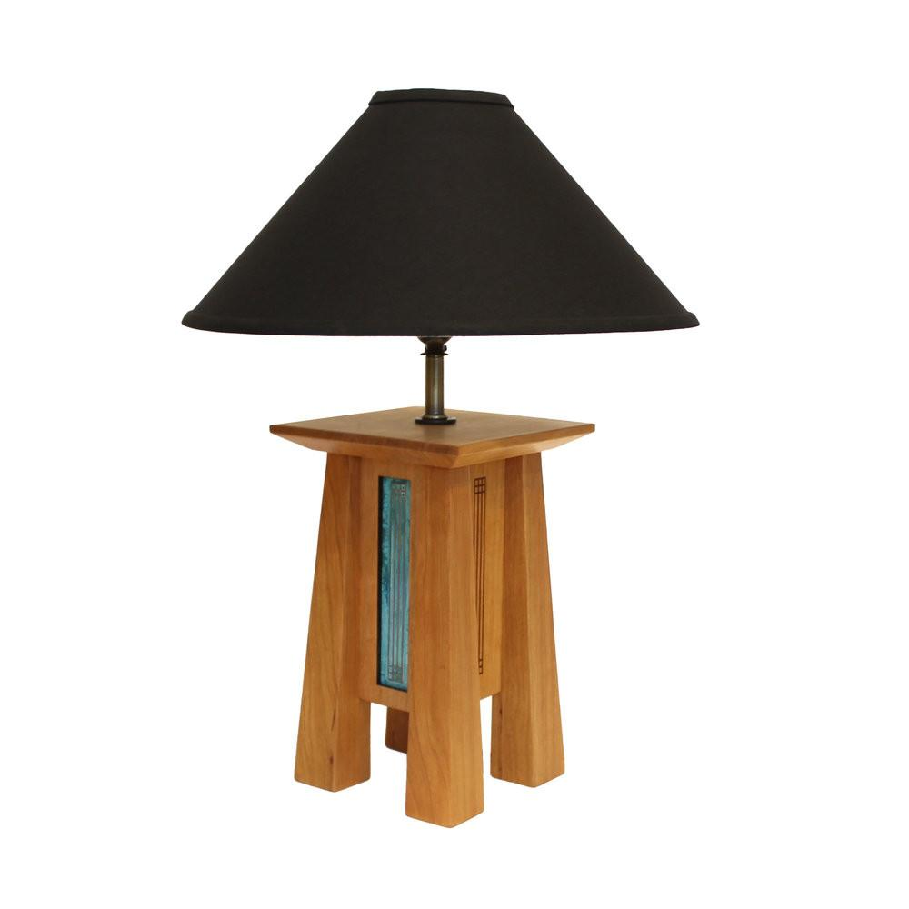 Standard height 4-legged cherry wood lamp base with patina copper sides and black linen lamp shade.