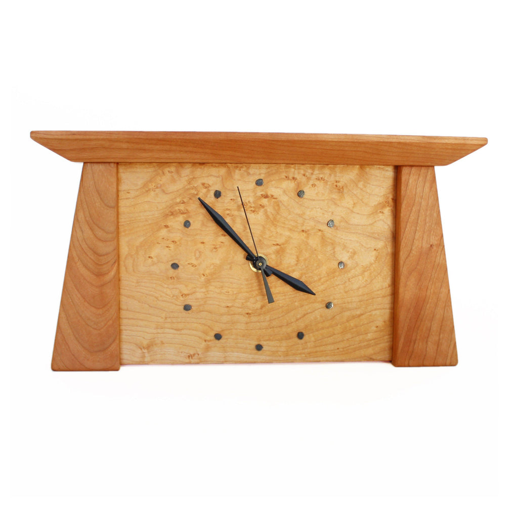 Tapered rectangular cherry wood framed maple wood clock.