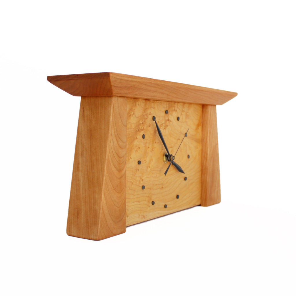Side view: Tapered rectangular cherry wood framed maple wood clock.