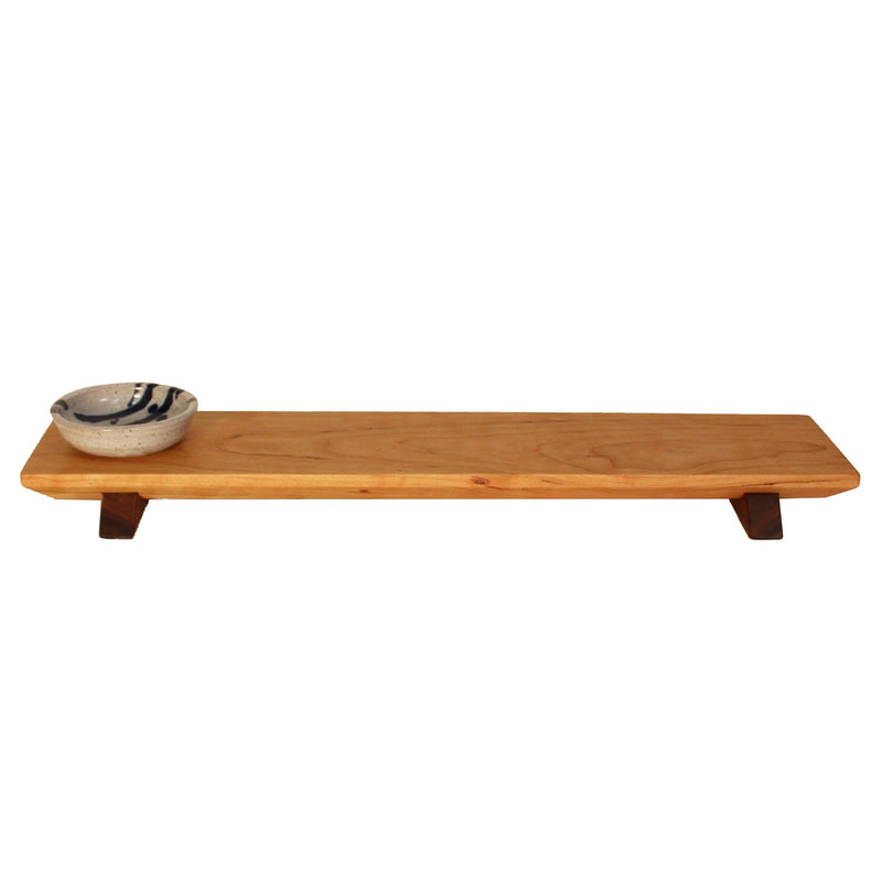 Long cherry wood (walnut wood feet) sushi tray with white and blue sauce bowl.