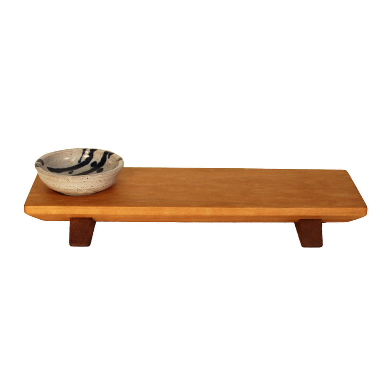 Short cherry wood (walnut wood feet) sushi tray with white and blue sauce bowl.
