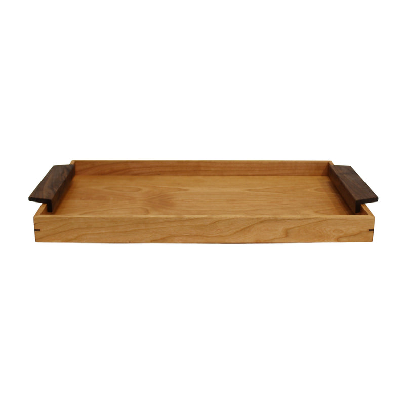 "Wide cherry wood serving tray with 1.75"" sides and walnut wood handles on both ends."