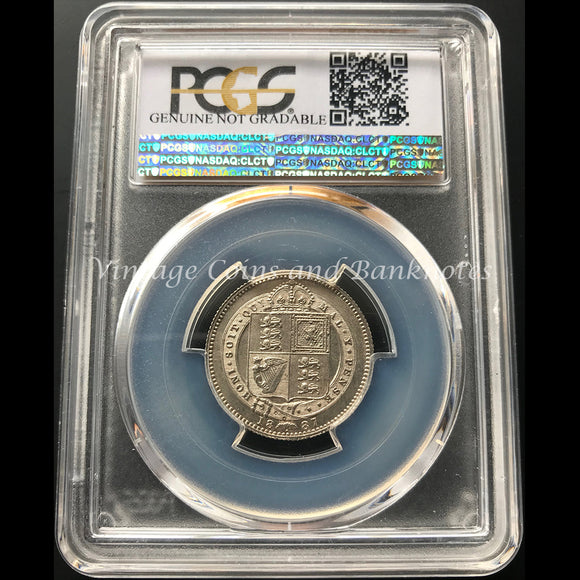 1887 British Shilling Jubilee Head PCGS Graded aUNC