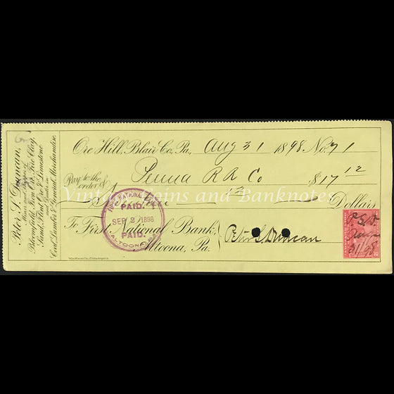USA 1898 Private Bank Cheque The First National Bank Altoona Pa