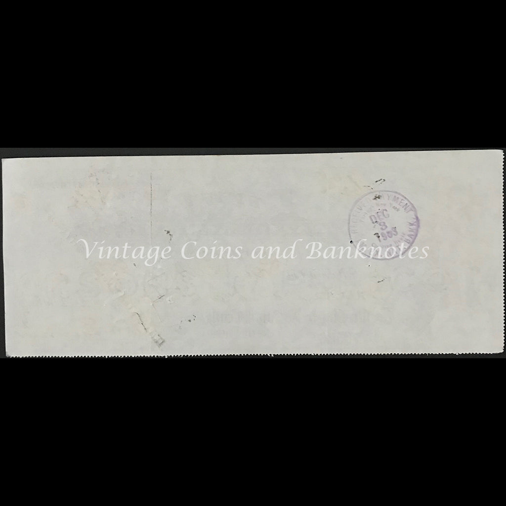 USA 1903 Private Bank Cheque The First National Bank Cooperstown NY