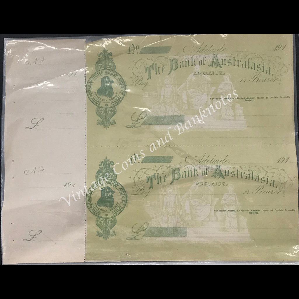 1910's Bank of Australasia Adelaide 2 Unused Uncut Bank Cheques