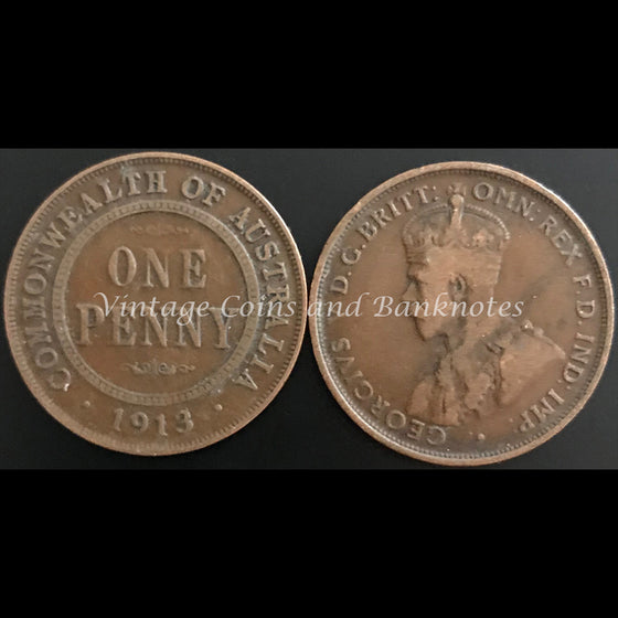 1913 Penny George V FINE+