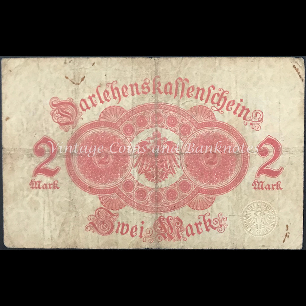 Germany 1914 Darlehenskassenschein 2 Mark - State Loan Currency Note FINE