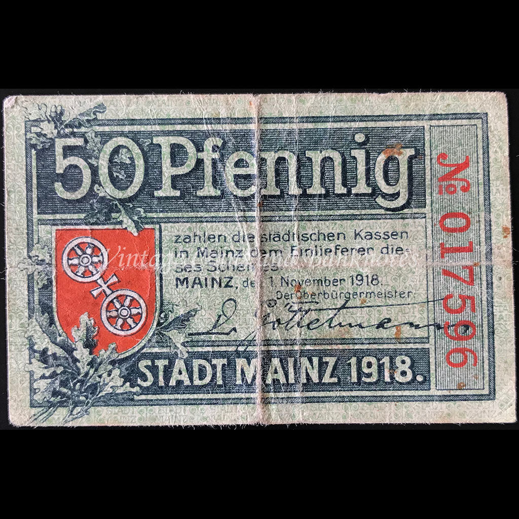 Germany 1918 50 Pfennig - Mainz Notgeld