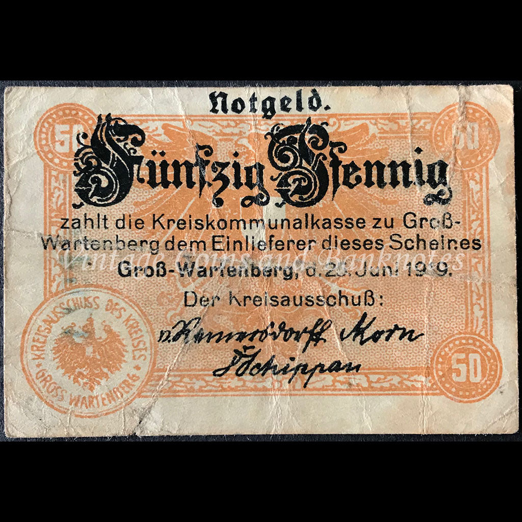 Germany 1919 50 Pfennig - Gross-Wartenberg Notgeld