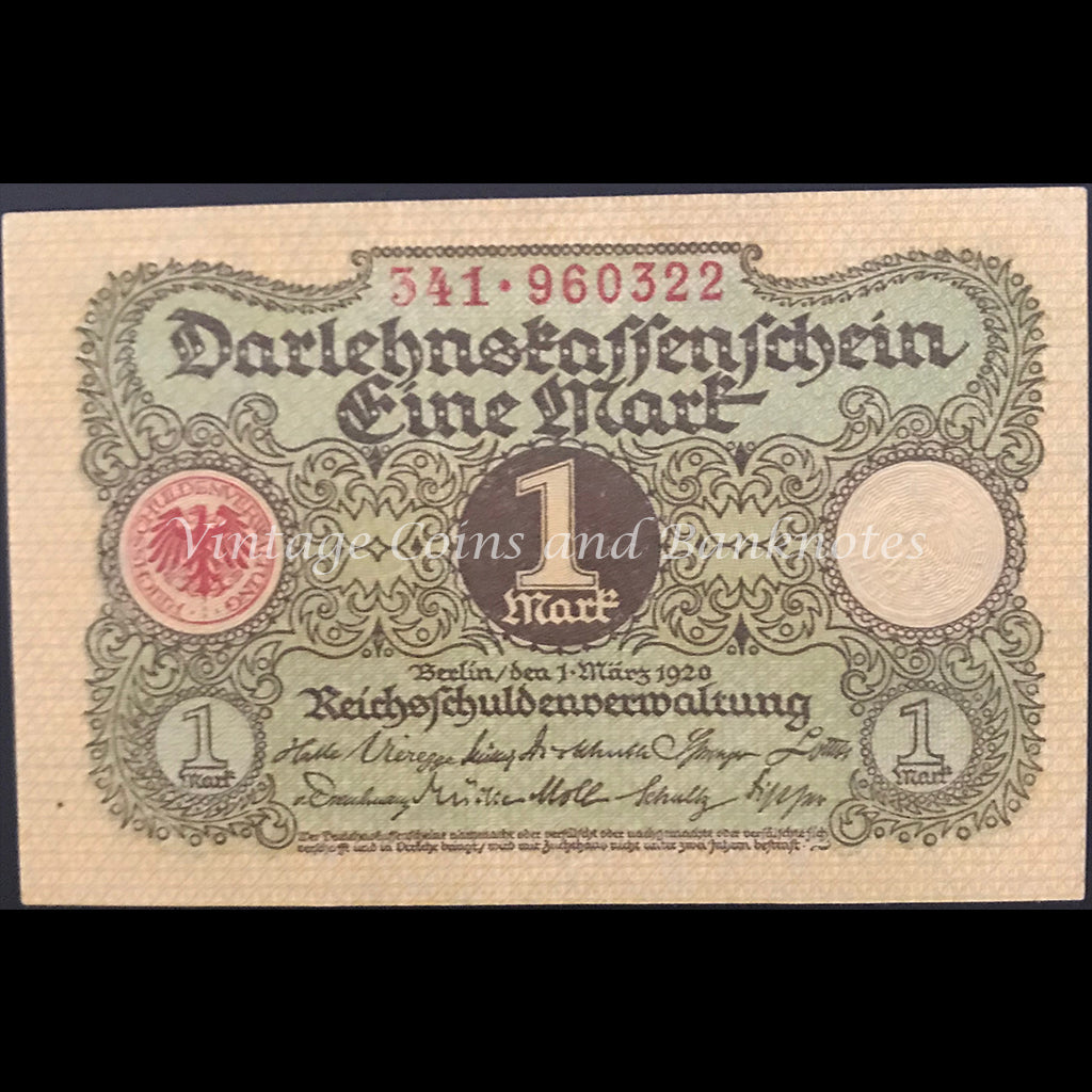 Germany 1920 Darlehenskassenschein 1 Mark - State Loan Currency Note (Weimar Republic) UNC