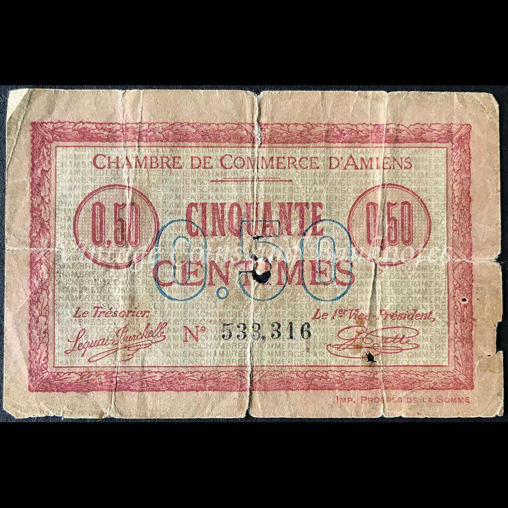 France 1920 50 Centimes - Chambre De Commerce D'Amiens