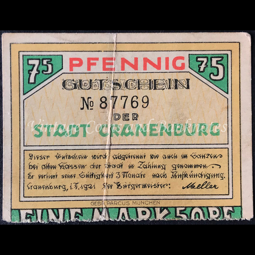 Germany 1921 75 Pfennig - Cranenburg Notgeld
