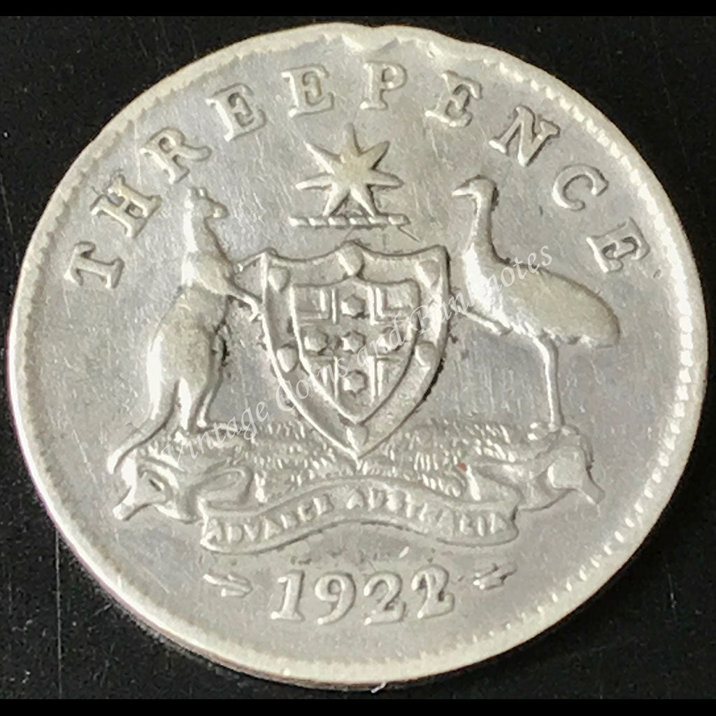 1922/1 Overdate Threepence George V Extremely Scarce and Rare