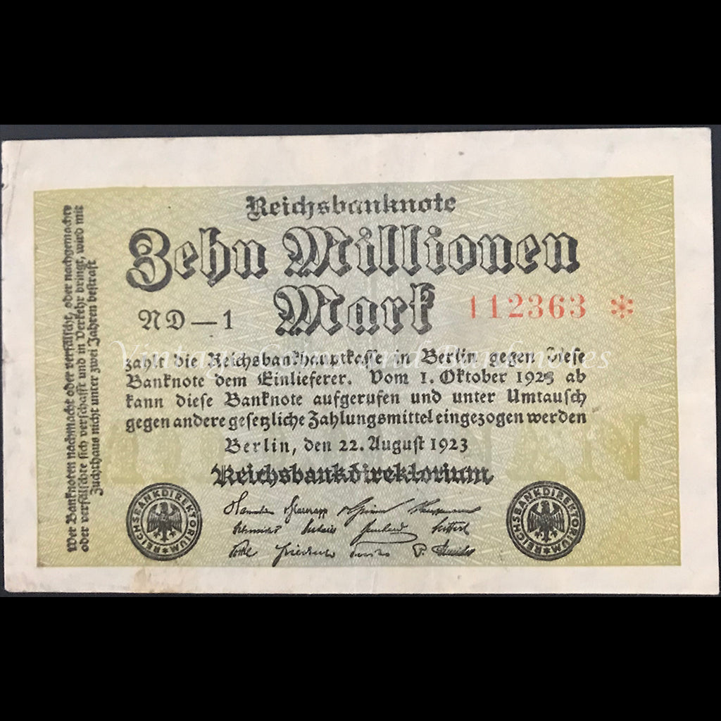 Germany 1923 Reichsbanknote 10 Millionen Star Note gVF