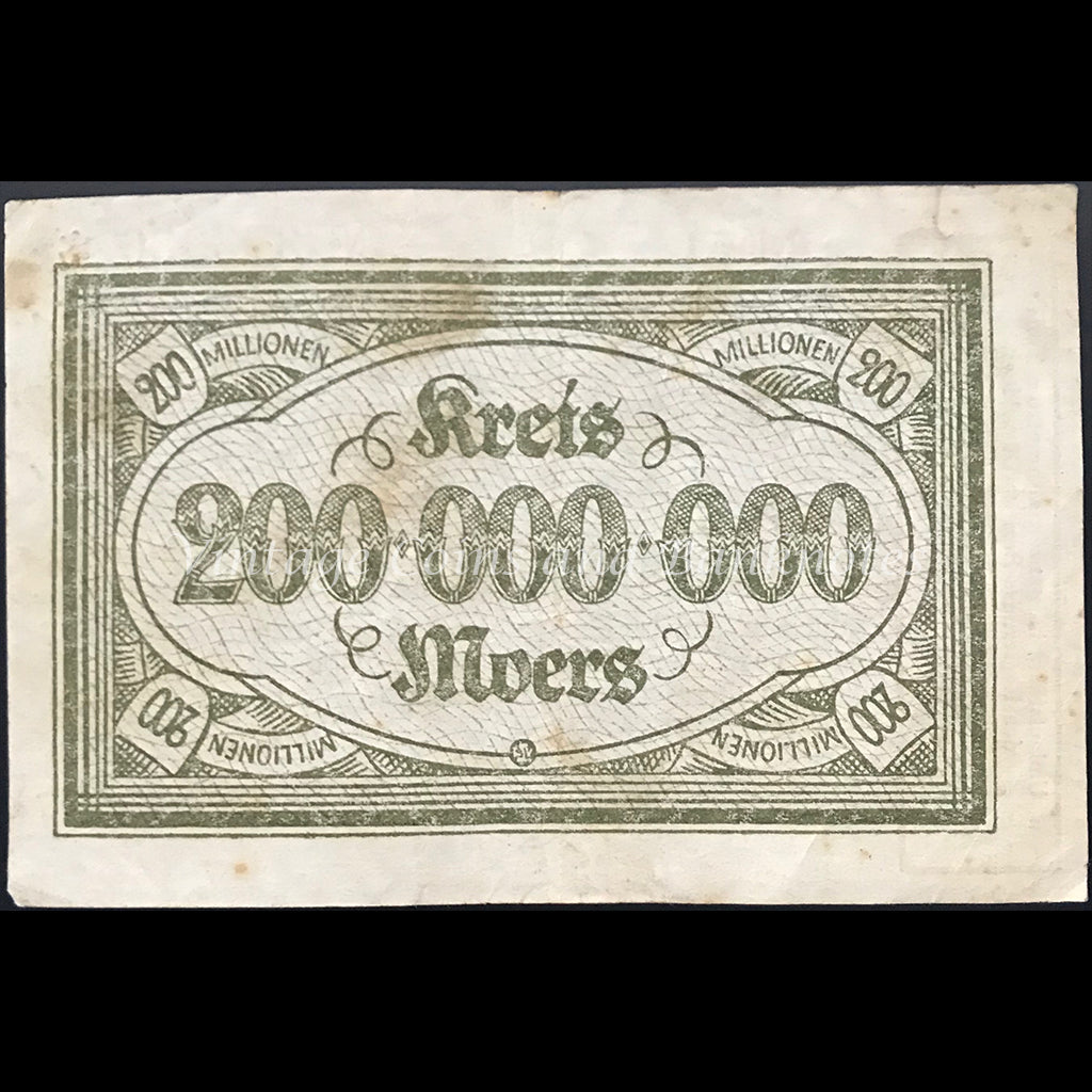 Germany 1923 200 Millionen Mark - Moers Notgeld Star Note FINE