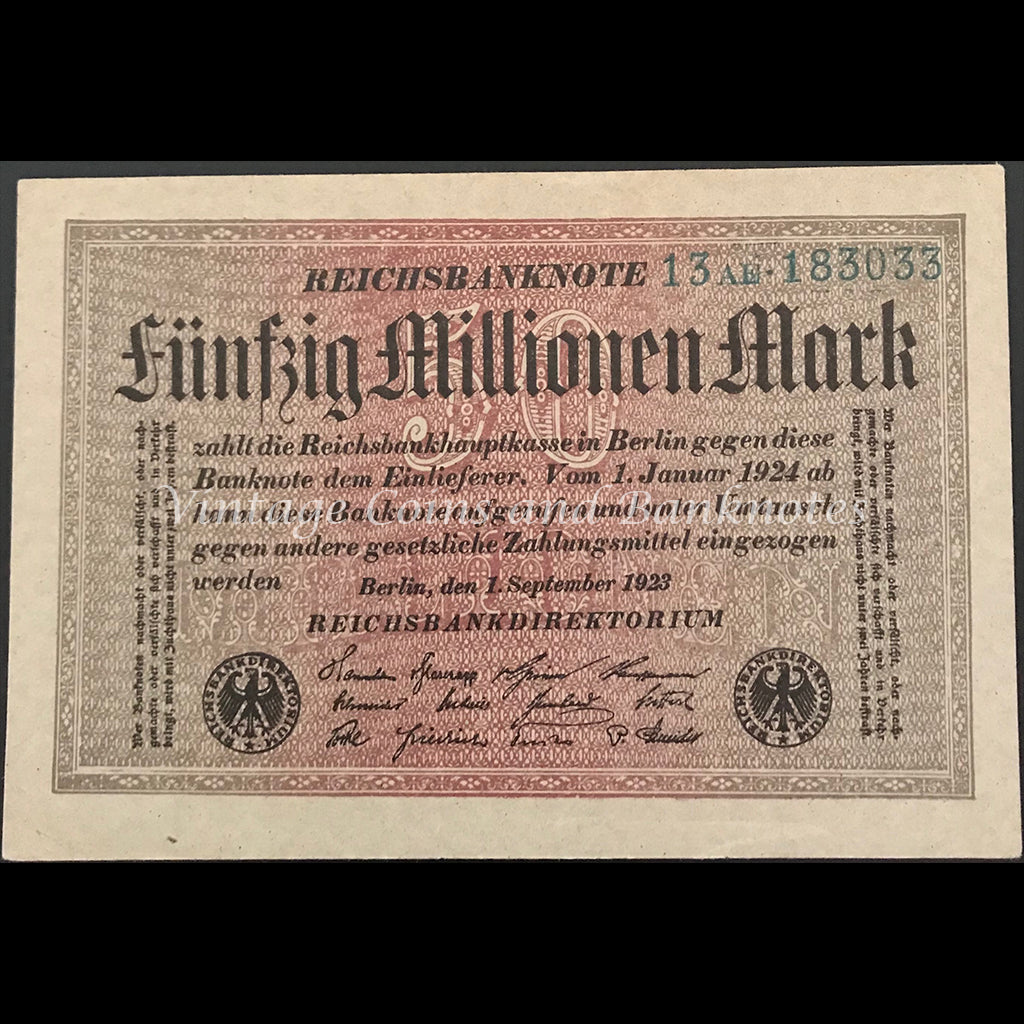 Germany 1923 Reichsbanknote 50 Millionen Mark aUNC