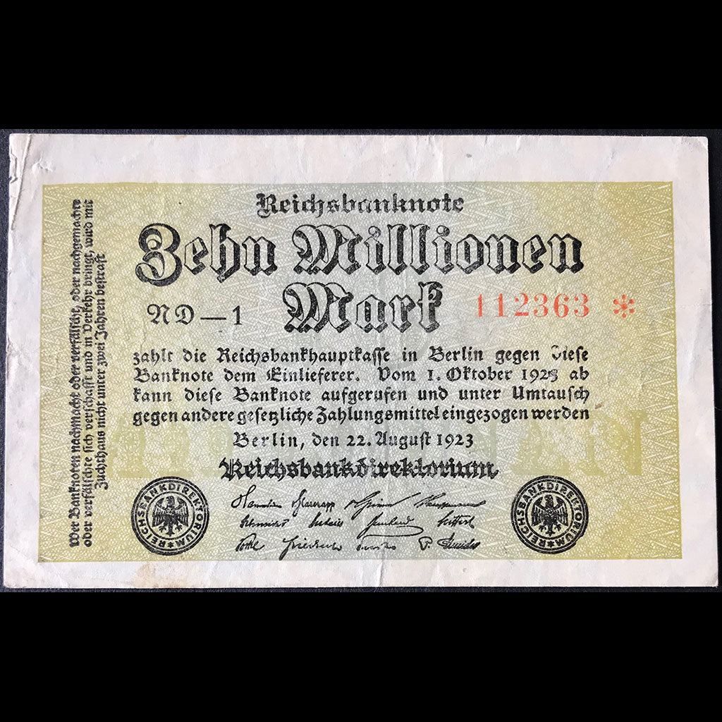 Germany 1923 Reichsbanknote 10 Millionen Mark Star Note