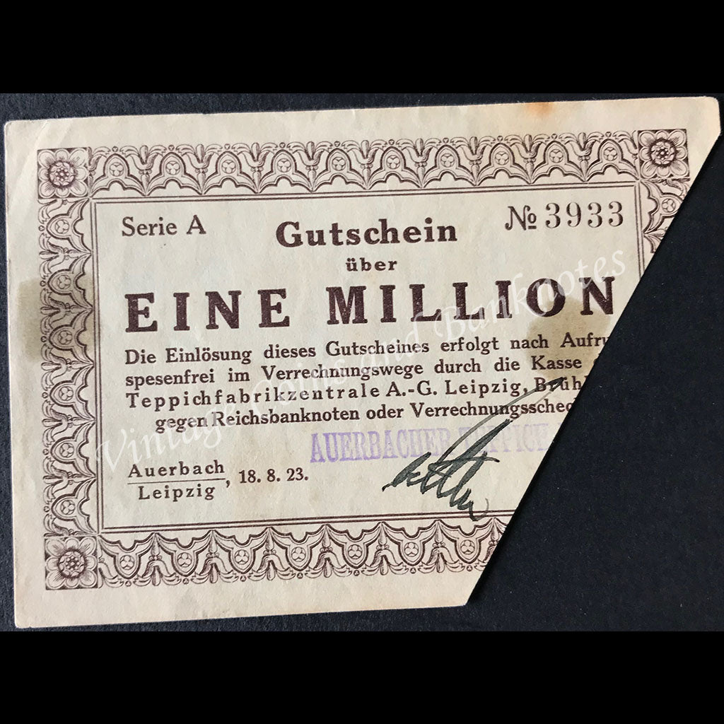 Germany 1923 1 Million - Auerbach und Leipzig Notgeld