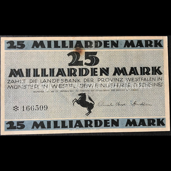 Germany 1923 25 Milliarden Mark - Münster Notgeld Star Note