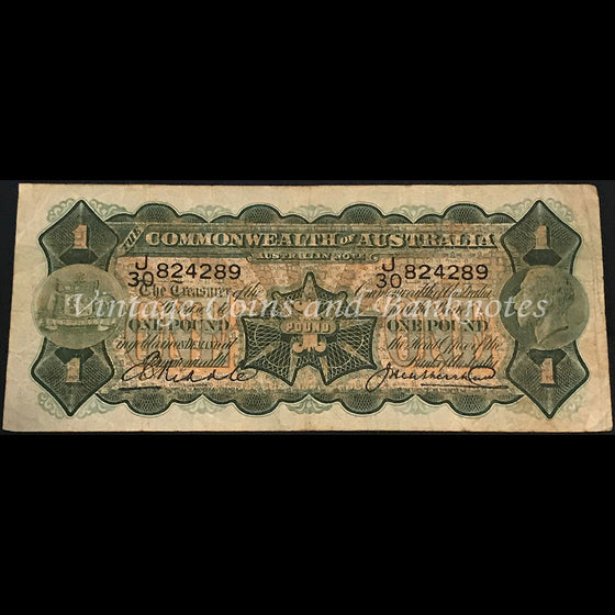 1927 Riddle Heathershaw One Pound VF