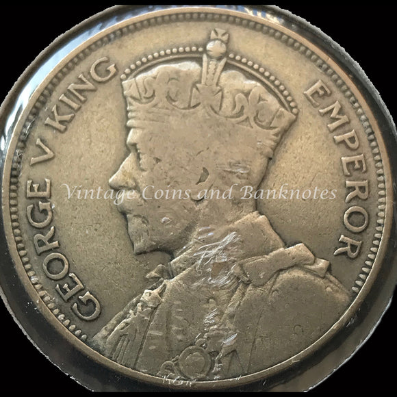 1933 New Zealand Half Crown George V FINE
