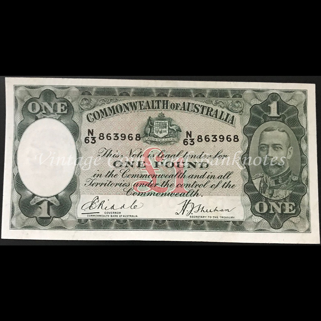 1933 Riddle Sheehan One Pound George V VF