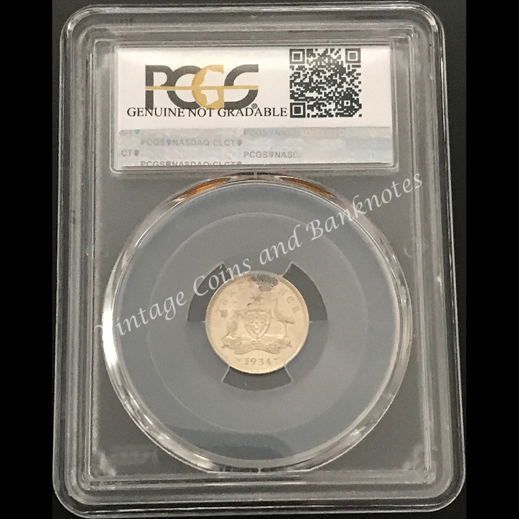 1934 Threepence George V - Melbourne Mint PCGS Grade Proof