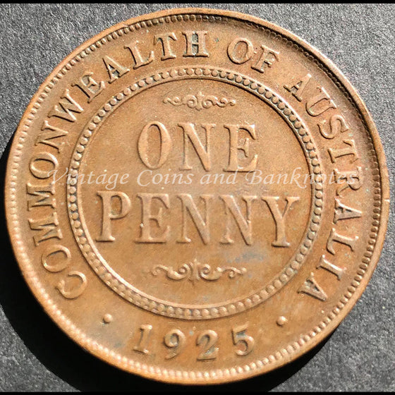 1925 Penny George V - VF Melbourne Mint Key Date